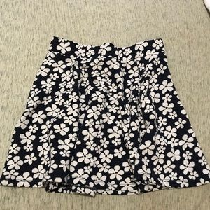 H&M Navy Blue and White Flower Circle Skirt